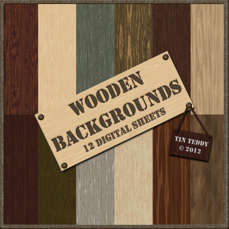 Wooden Digital Papers - 12 Realistic Backgrounds for Crafting Projects, Scrapbooking etc