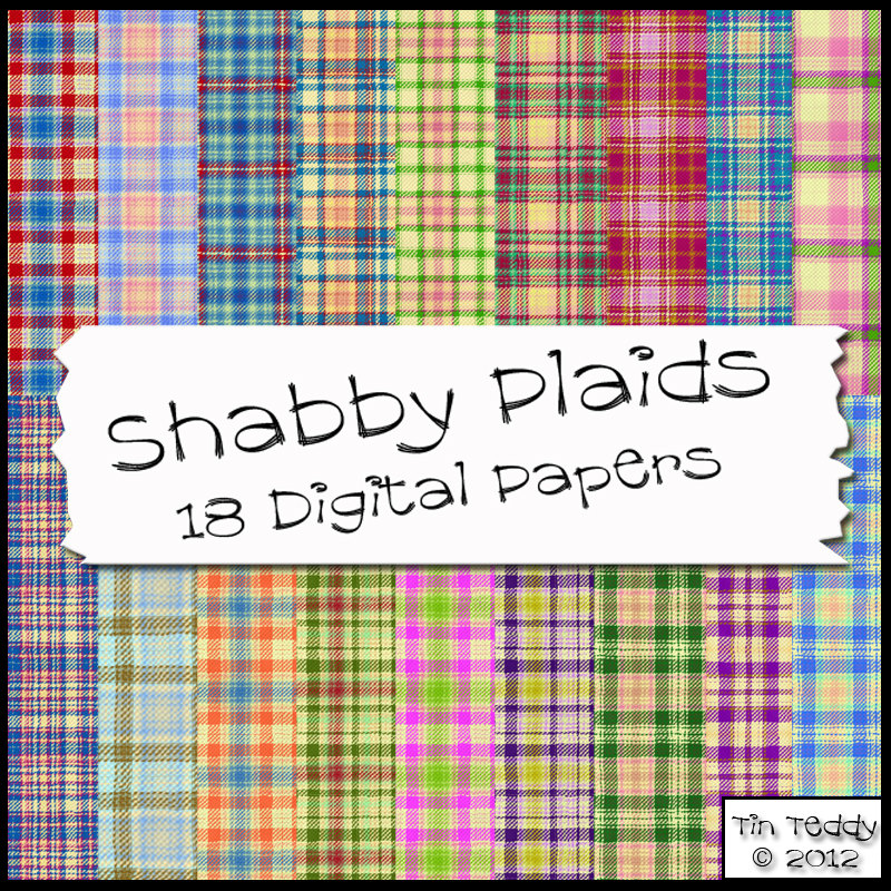 Shabby Tartan Plaids - 18 Plaid Backgrounds - Digital Papers for Scrapbooking, Birthday Card Making & More