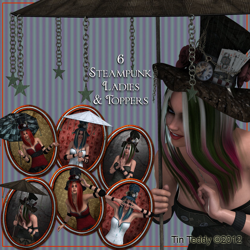 Steampunk Ladies Digital Clip Art and Toppers - Images for Scrapbooking, Birthday Card Making & More