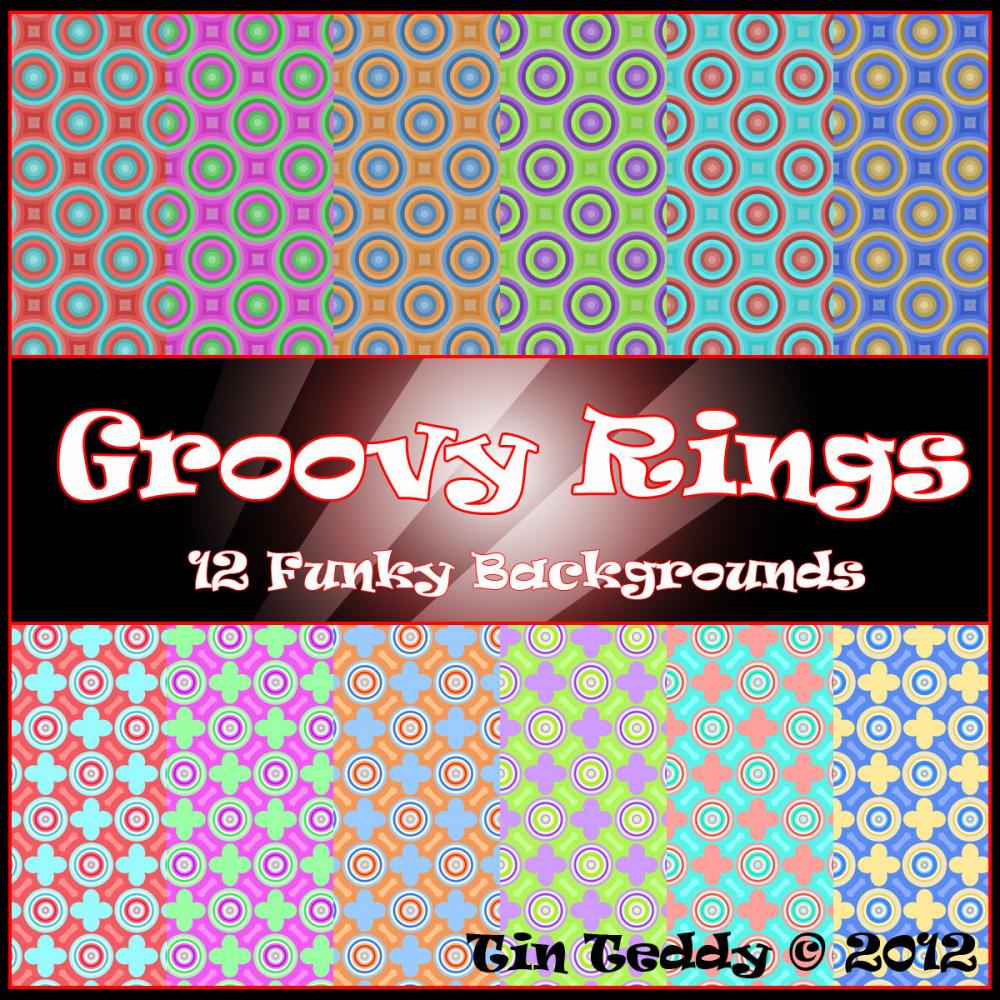 Digital Background Papers - Groovy Rings - 12 Funky Backgrounds - Digital Clip Art for Scrapbooking, Birthday Card Making & More