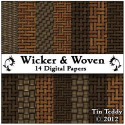 Wicker Woven Digital Papers - 14 Cane and Rush Backgrounds -Versatile for Scrapbooking, Birthday Card Making & More