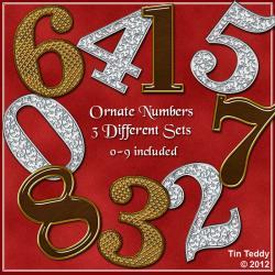 Digital Clip Art Number Ornate Sets 0-9 - 3 sets - for Scrapbooking, Birthday Card Making & More