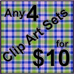 Digital Clip Art - Any 4 Clipart Sets for 10 Dollars Bundle - Save on Tin Teddy Graphics