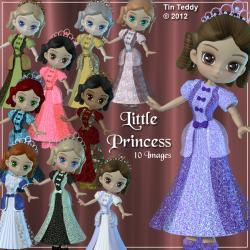 Little Princess Digital Clipart - 10 Pretty Girls for Scrapbooking, Birthday Card Making etc With Bonus Custom Just For You