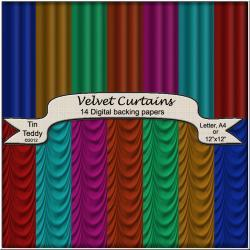 Velvet Curtains Backgrounds - Drapes Digital Backing Paper for Scrapbooking, Card Making and other Crafts