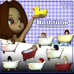 Bathtime Digital Clip Art for Card Making, Scrapbooking, Decoupage and Much More 12 Images