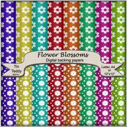 Flower Blossom Backgrounds - 16 Digital Backing Papers - for Scrapbooking, Birthday Cards and much more