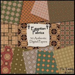 Egyptian Papers Fabric Backgrounds - 30 Authentic Digital Backgrounds for Scrapbooking, Birthday Card Making & More