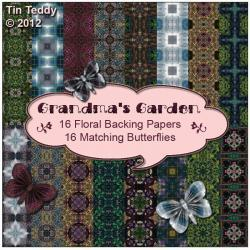 Digital Backing Papers - Grandma&#039;s Garden - Backing Papers &amp; Embellishments - 16 Digital Papers for Scrapbooking, Birthday Card Making Etc