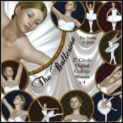 Ballerina Circles Toppers Collage Sheets - 2 Inch Circles / Cupcake Toppers - Digital Collage Sheet