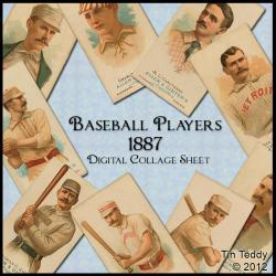 Baseball Players 1887 - Vintage Digital Collage Sheet