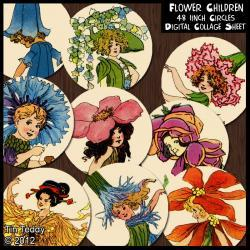 Flower Children Circles- 1 Inch Circles x 48 - Digital Collage Sheet - Perfect for Jewelry, Bottle Caps etc