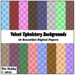 Velvet Upholstery Background Papers - 16 Digital Papers for Scrapbooking, Birthday Card Making & More