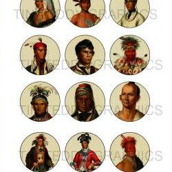 Native American Chiefs - 2 Inch Circles / Cupcake Toppers Mirrors etc - Vintage Digital Collage Sheet