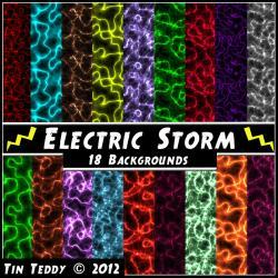 Electric Storm Digital Papers - 18 Lightning Backgrounds Art for Scrapbooking, Birthday Card Making &amp; More